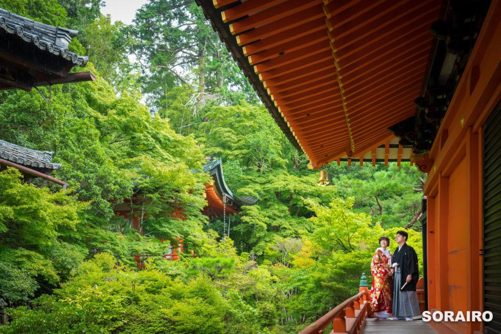 お寺の廊下に立つ和装姿の男女