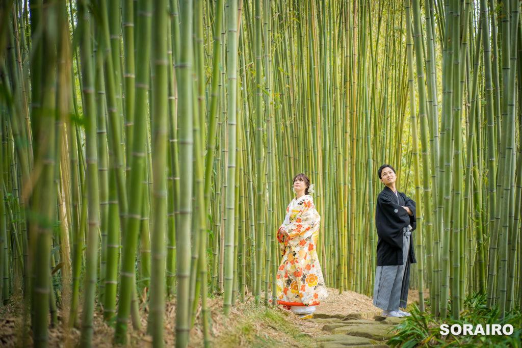 竹林に立つ和装姿の新郎新婦